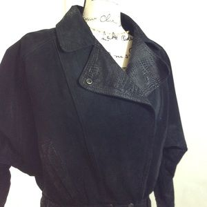 Vintage Black Suede Leather Moto Jacket 80s Cut
